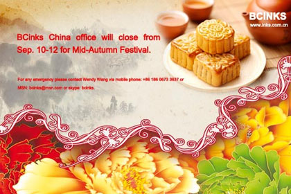 BCinks China office will close from Sep. 10-12 for Mid-Autumn Festival.
